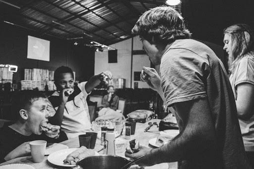 Family Dining Out Enjoying Meal Spending Money